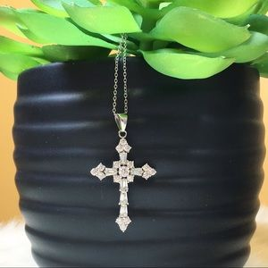 Jewelry - Sterling Silver & Cubic Zirconia Cross Necklace